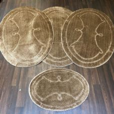ROMANY WASHABLES GYPSY MATS 4PC SETS NON SLIP WING OVAL DESIGN BEIGE LUXURY RUGS